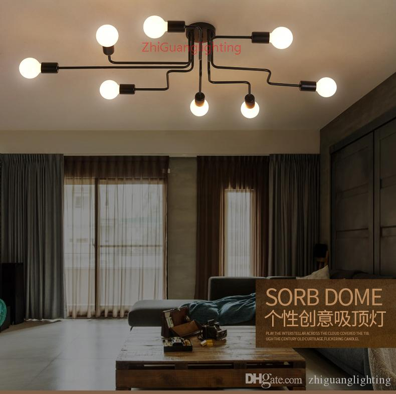2019 Wrought Iron 4 Heads 6 Heads 8 Heads Diy Multiple Rod Ceiling Dome Lamp Creative Personality Design Retro Nostalgia Cafe Bar Ceiling Light From