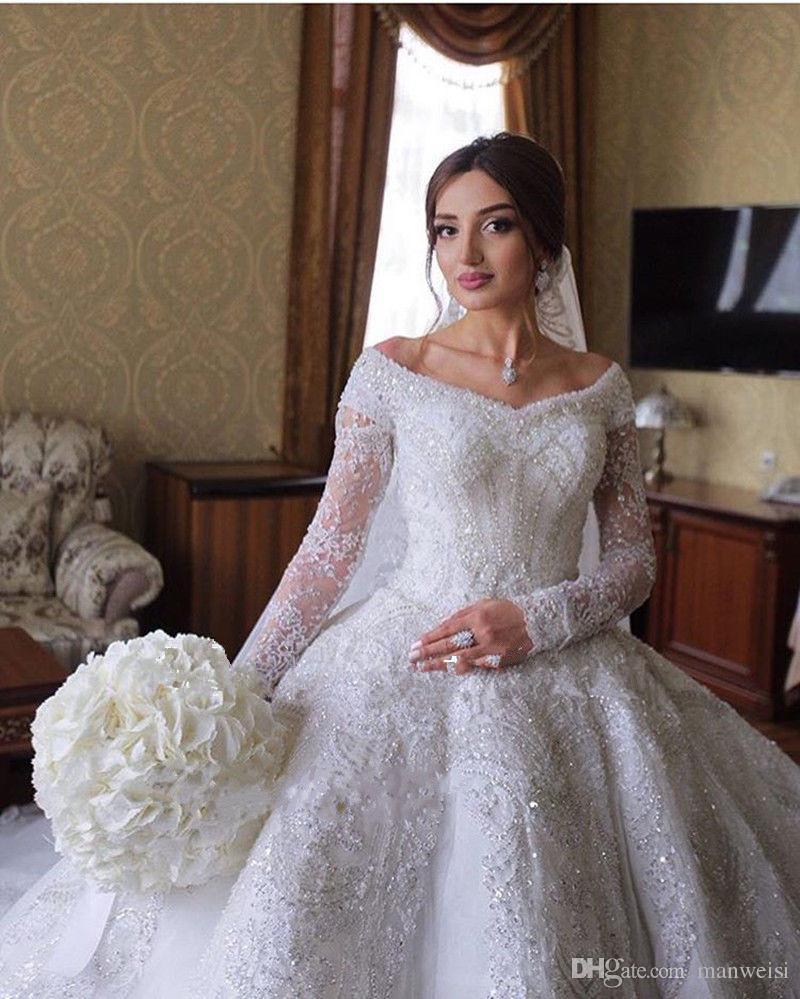 Robes de mariée de luxe en dentelle robe de mariée en Arabie Saoudite sur l'épaule à manches longues Full Lace Appliqued paillettes robes de mariée
