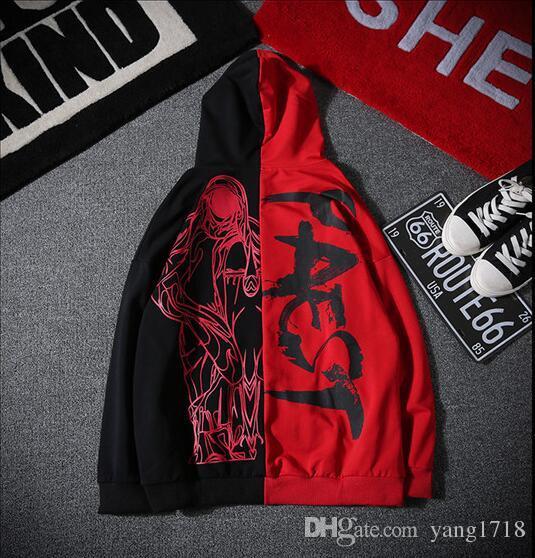 2018 nouveau design Autumn Tide Marque High street vent planche de skate hip hop Hit couleur bieber hommes et femmes étudiant manteau de jeunesse Hoodie