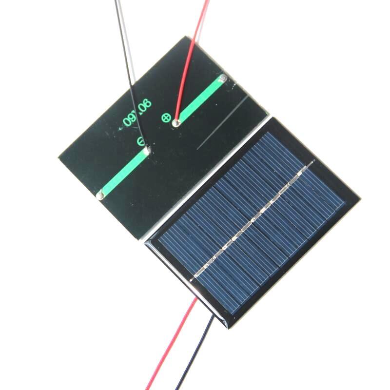 BUHESHUI 에폭시 다결정 실리콘 태양 전지 패널 작은 태양 전지 패널 0.6W 블랙 / 레드 와이어 태양 전지와 케이블 / 무료 배송