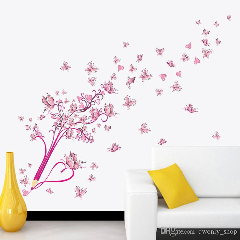 3D PVC diy Pink flowers butterfly and pencil wall stickers home decor for living room bedroom Vinyl poster Christmas gift