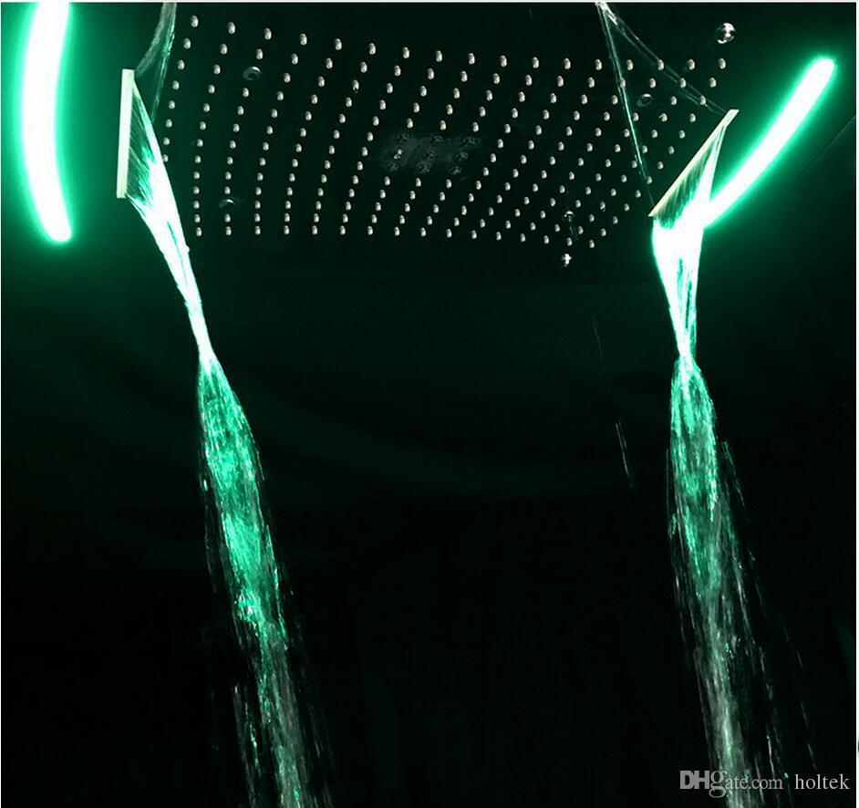 욕실 Accessoreis Rainfall Conceal Shower 4 way 전기 전원 LED 벽 천장 마운트 욕실 샤워 헤드