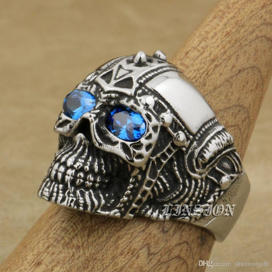 LINSION Acciaio inossidabile 316L Punk Rock Skull Blue CZ Occhi Mens Punk Ring 4E136