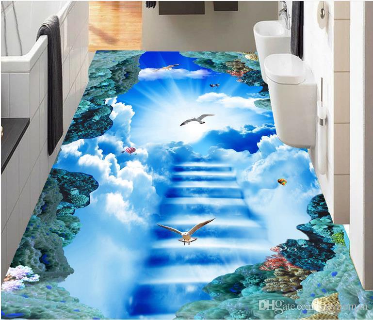 3d flooring papel parede custom self adhesive photo 3d floor murals Clouds Sky Pigeon 3d floor for living room bedroom wallpaper