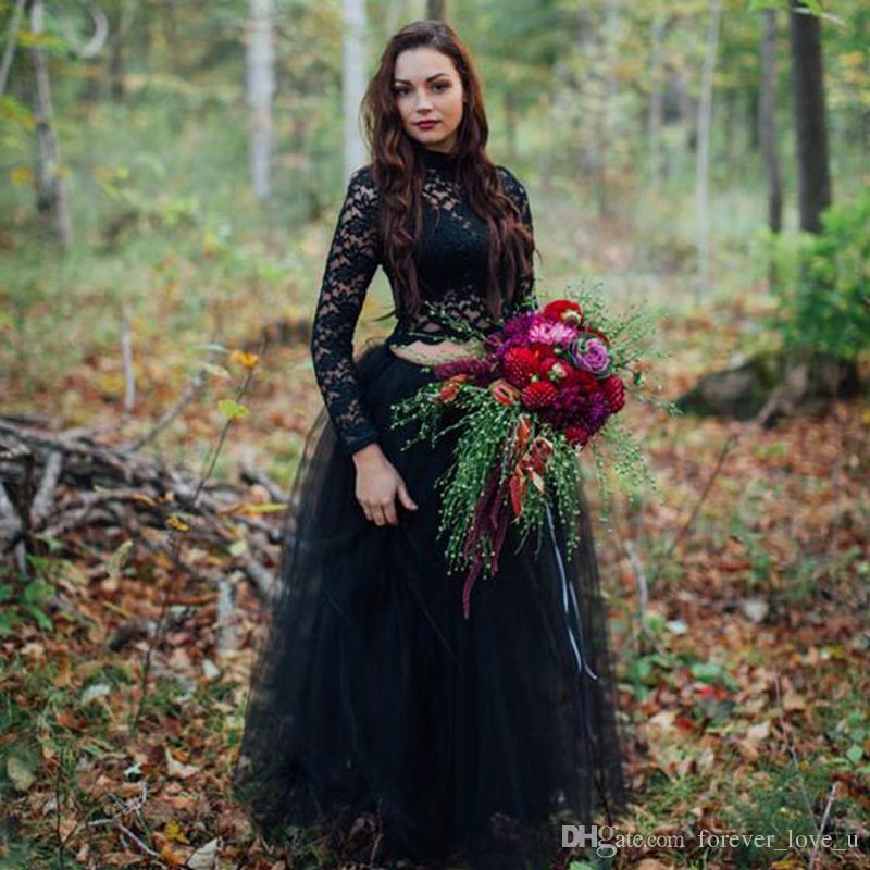 compre vestido de boda negro gótico 2017 país dos piezas ilusión