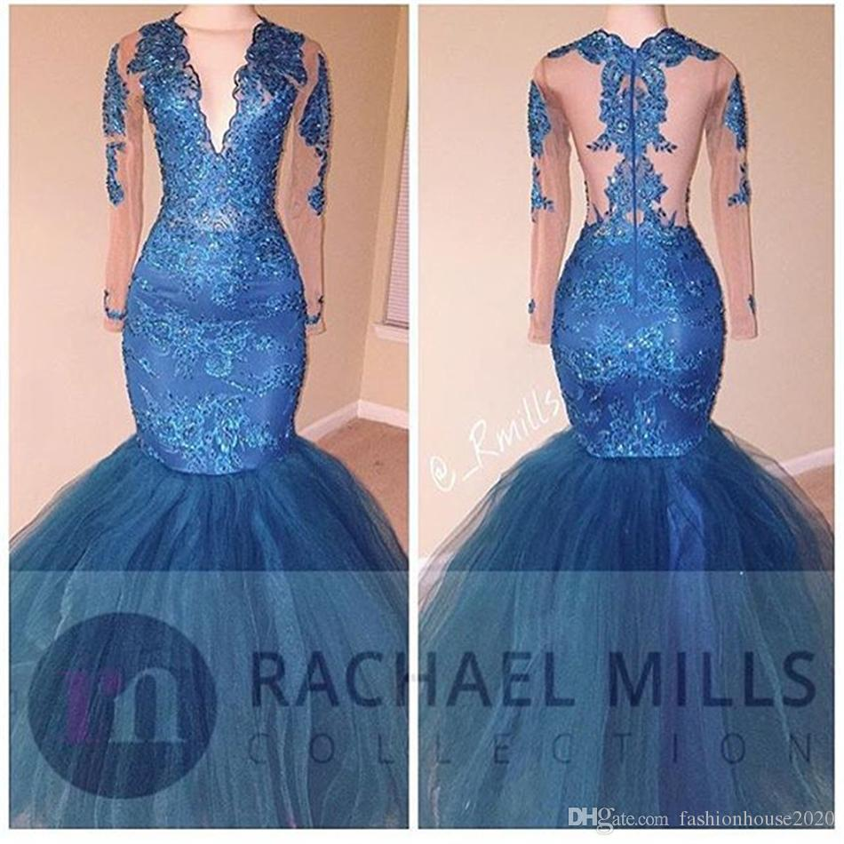 African Blue Tulle Mermaid Prom Dresses 2K17 Long V Neck Sequined Sheer Illusion Tulle Long Sleeve Formal Evening Gowns Cheap Party Dress