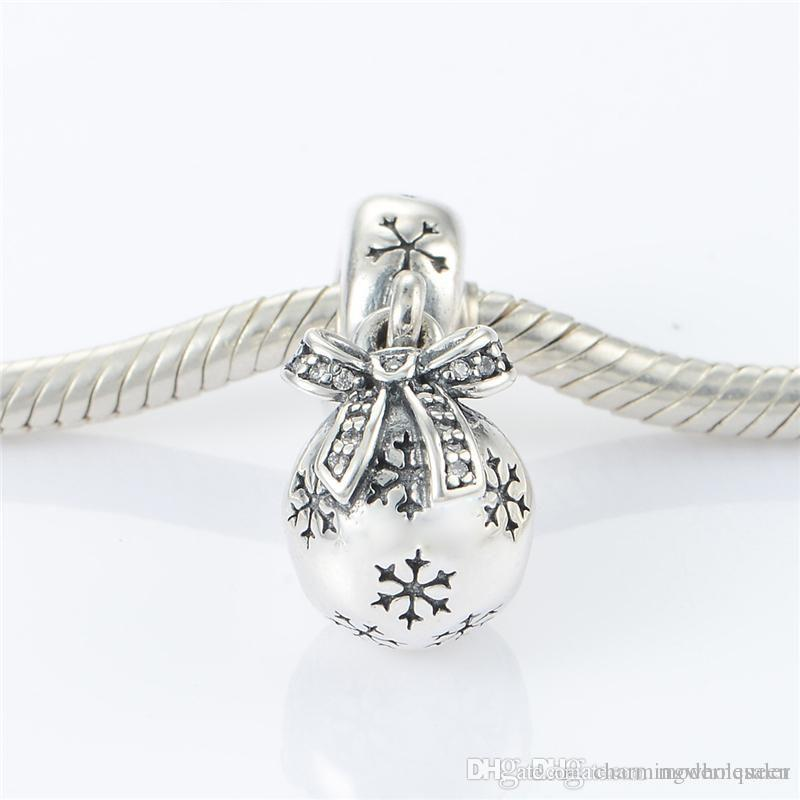 Christmas charms barrel snow flake original S925 sterling silver jewelry fits for pandora bracelets antique ale LW479H9