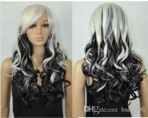 free shipping beautiful pretty beautiful long curly white mix black cosplay Hair wig Wigs for women