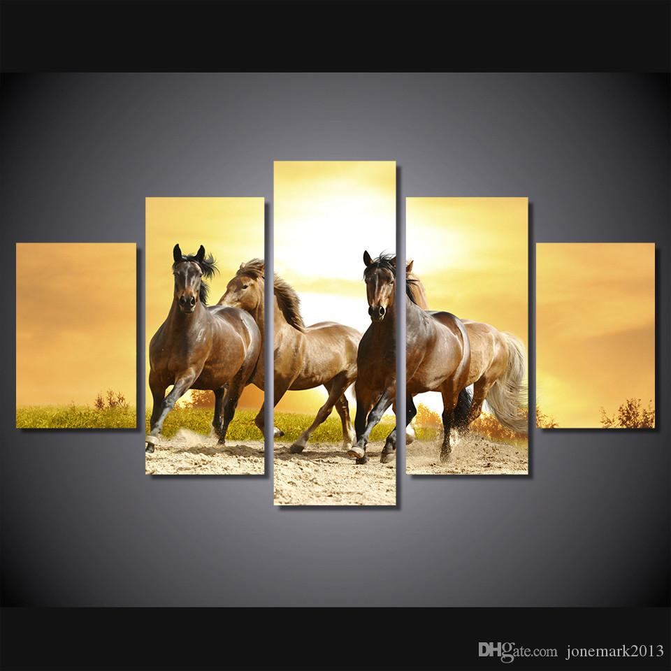 2018 Framed Hd Printed Running Horses Picture Wall Art Canvas Print ...