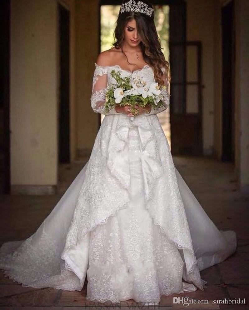 Discount Long Sleeve Lace Wedding Dresses 2017 New Simple: Discount Off Shoulder A Line 2017 Long Sleeves Modest Wave