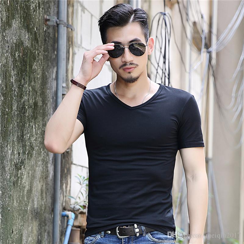 Kahve Rengi Pamuk tasarımcı gömlek Yaz Bağbozumu erkek t shirt erkekler için Rahat V Boyun Siyah Ordu Yeşil Üstleri Tee Erkek 3XL HYX-102