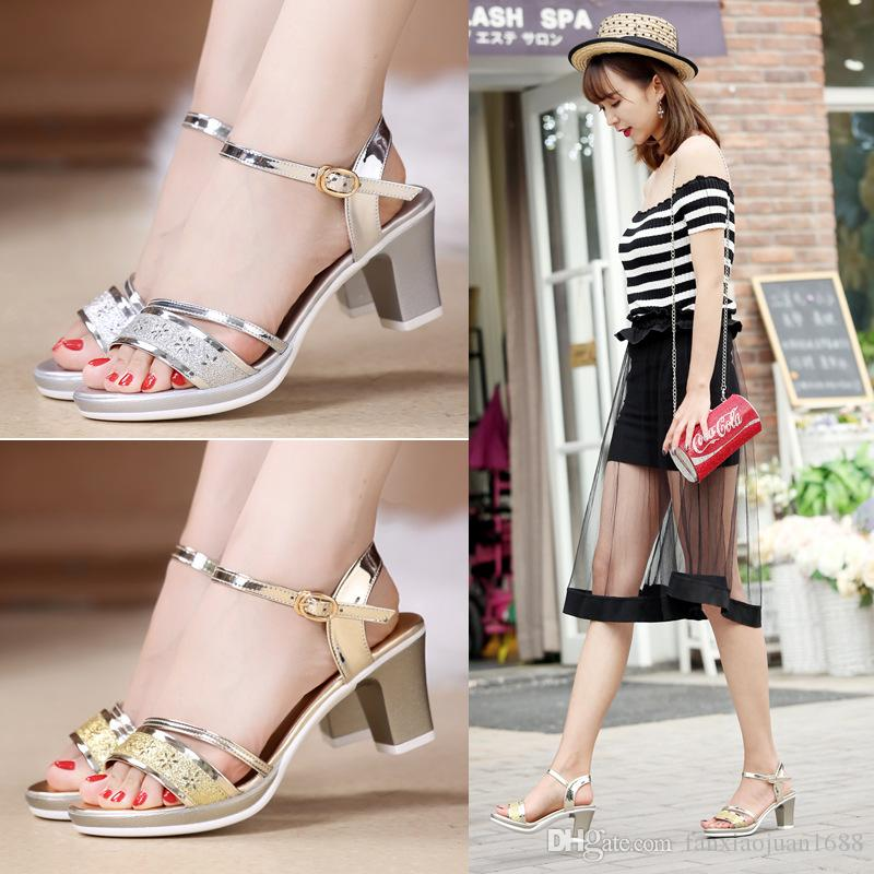 3836f700d57 Plus Size 34 41 Hot 2017 Summer Women Sandals Fashion High Heels Sandal  Sexy Gladiator T Strap Platform Party Dress Shoes Woman Cheap Sandals Summer  Sandals ...