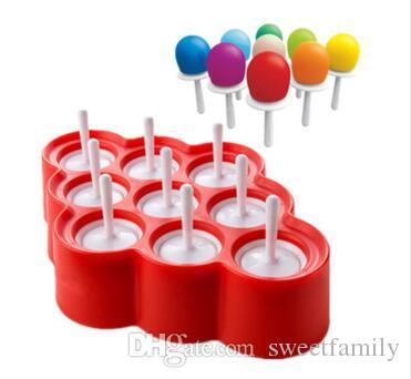 Ice lolly molde de silicone mini ice pops mold ice cream ball lolly cria moldes de picolé com 9 cavidade diy ferramentas de cozinha