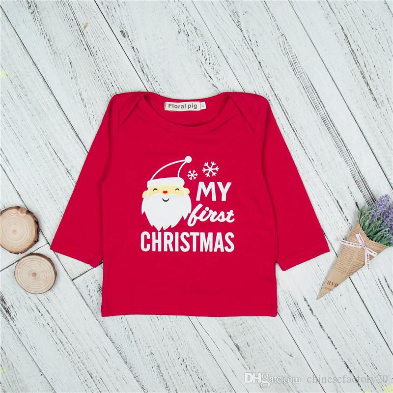 INS My First Christmas Autumn Clothing Sets Newborn Baby Boys Girls Stripe Letter Santa Claus Printed Long Sleeve Tops+ Pants Outfits