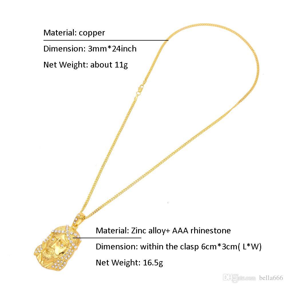 Men Hip Hop Jesus Pendant Necklace Gold Color Zinc Alloy Women Necklaces Hiphop Copper Cuban Chain 3mm Christian Rapper Jewelry Ornaments