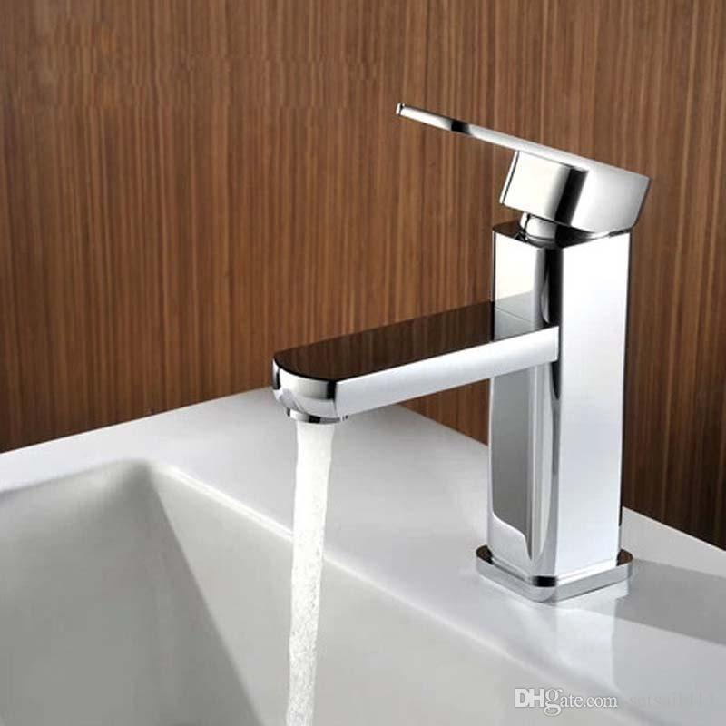 Contemporary Chrome Basin Faucets Deck Mounted Tap Mixer Bathroom ...