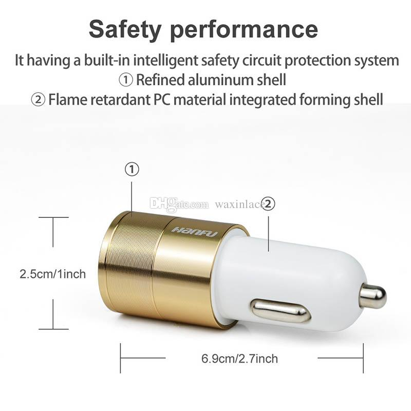 Car Charger 5V 3.1A Quick Car Charger Dual Port Cigarette Lighter Adapter For iPhone Samsung Pad GPS