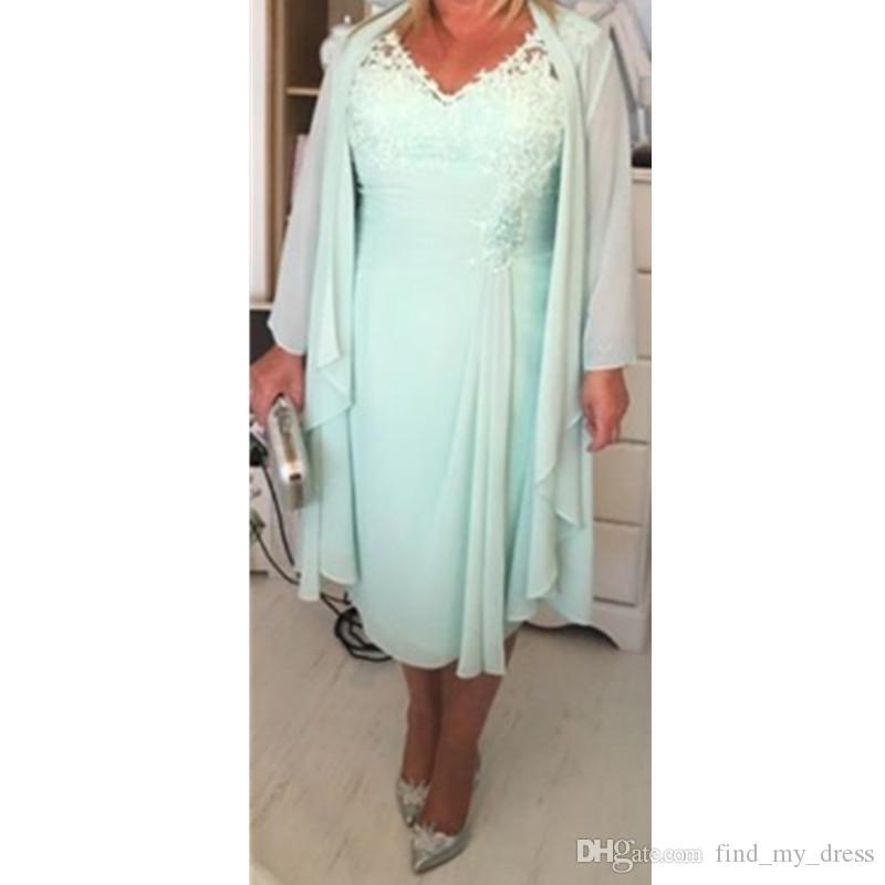 Menta verde cuello en V columna corta madre de los vestidos de novia con abrigo más tamaño Casual 2017 gasa vestidos de noche de encaje té longitud