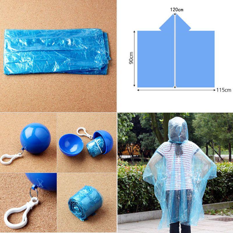 New Spherical Raincoat Plastic Ball Key Chain Disposable Portable Raincoats Rain Covers Travel Tour Trip Rain Coat WX-H16