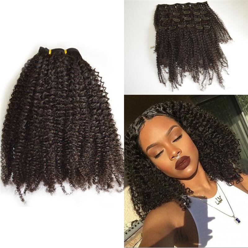 Peruvian 4b 4c Afro Kinky Curly Clip In Human Hair Extensions Full