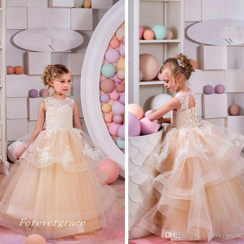 404f06be802b2 2017 Free Shipping Top Sale Lace Appliques and Champagne Tiered Tulle Skirt  Flower Girl Dresses Sleveless Long Pretty Kids Pageant Gowns