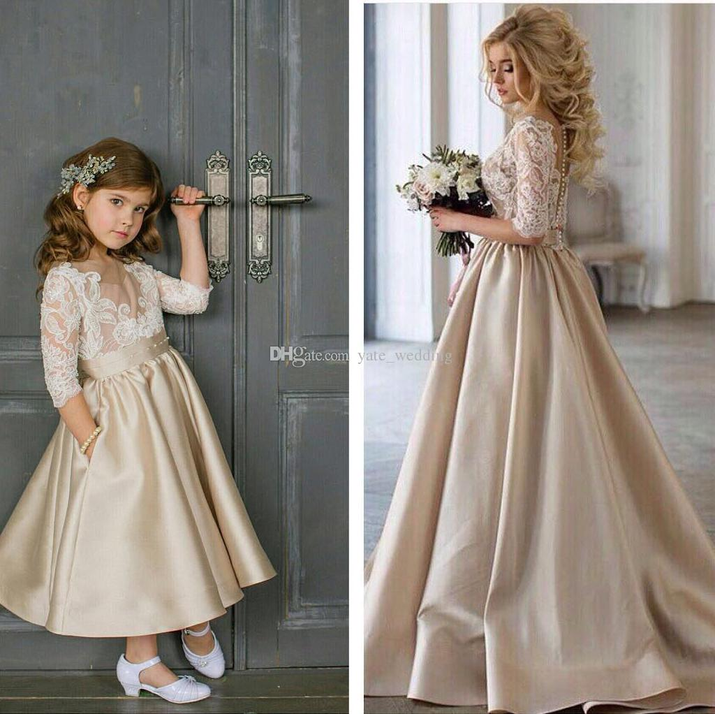 71a97531d Champagne Flower Girls Dresses For Weddings 3/4 Long Sleeves Lace Satin Ankle  Length Girls Pageant Dresses Children Girls Party Dresses Cute Dresses For  ...