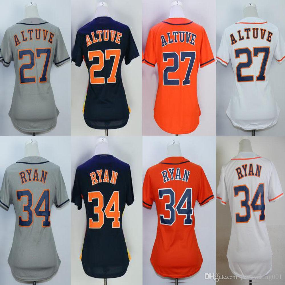 low priced 7aeca a5fd4 Embroidery Women's #27 Jose Altuve #34 Nolan Ryan White/Grey/Orange/  Baseball Jerseys Free Drop Shipping Mix Order