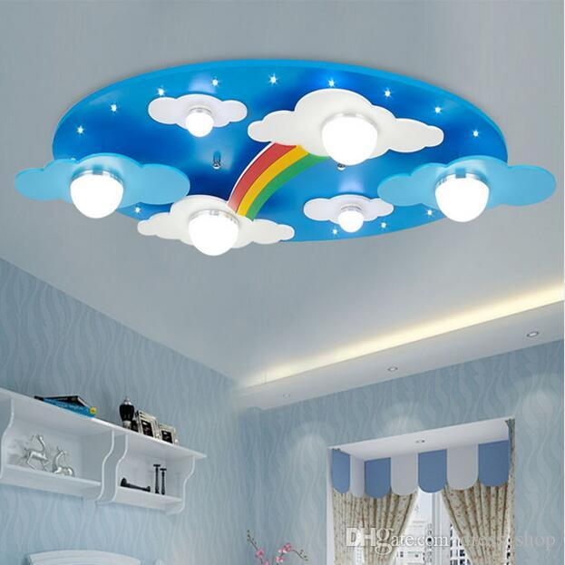 Childrens Light Shades Ceiling: 2018 Wood Rainbow Moon Light Led Children Ceiling Lights
