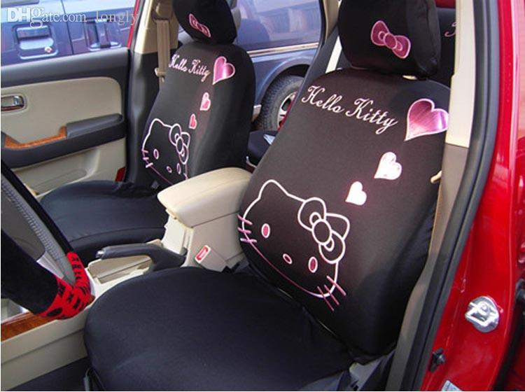 universal car seat cover pink heart cartoon universal hello kitty car seat covers universal car. Black Bedroom Furniture Sets. Home Design Ideas