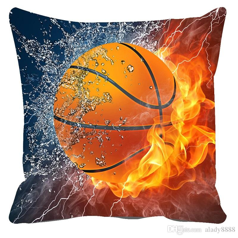 Plush Cushion Cover 40D Sofa Throw Pillows Basketball Pattern Unique Pillow Case Covers For Throw Pillows