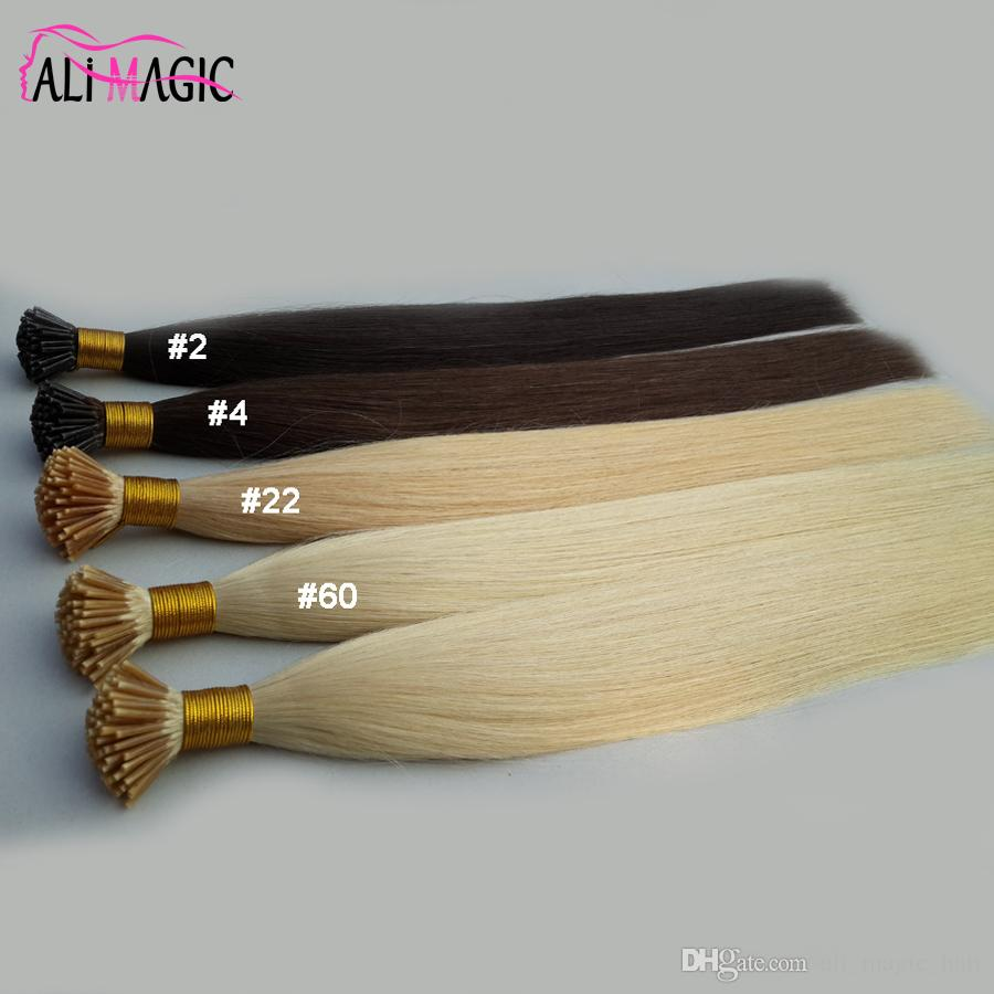 2017 Hot Selling I Tip Human Hair Extensions Fusion Black Brown Blonde Pre Bonded 100g 100 202224inch Cheap