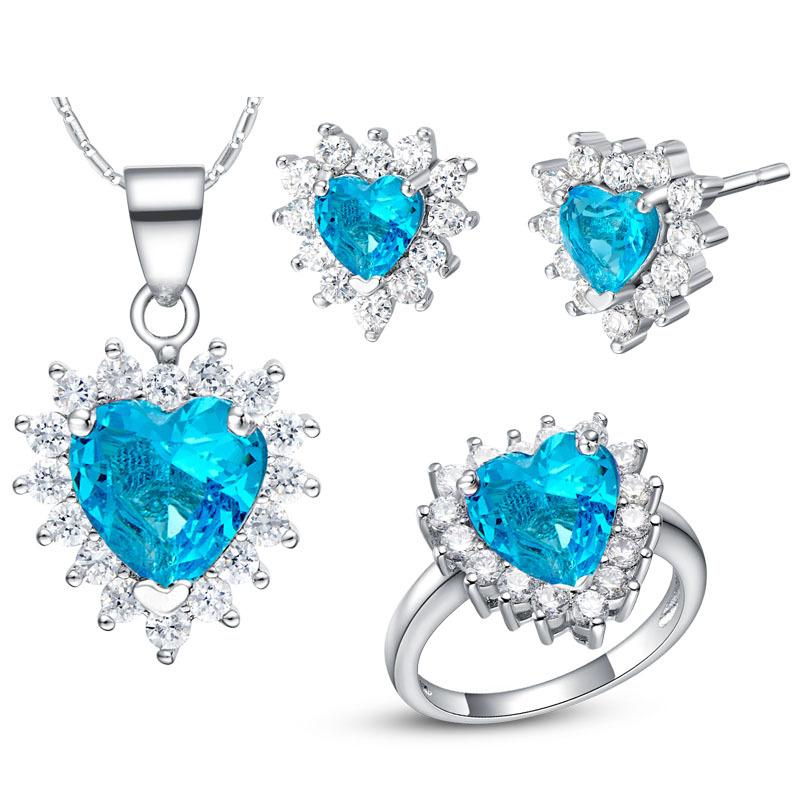 925 Sterling Silver pendant Earrings ring Women Gift word Jewelry sets NEW s of sterling silver custom of high-end European and American