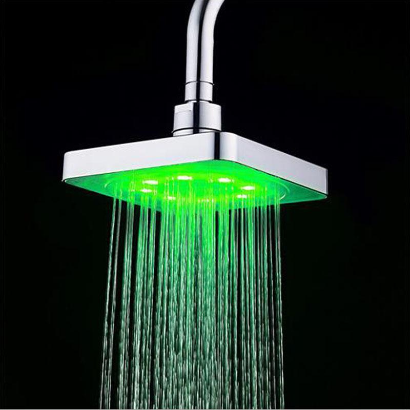 Sıcak satış banyo Kare Su Akış Ayarlanabilir Romantik Otomatik LED Duş Başlığı Banyo ücretsiz kargo için