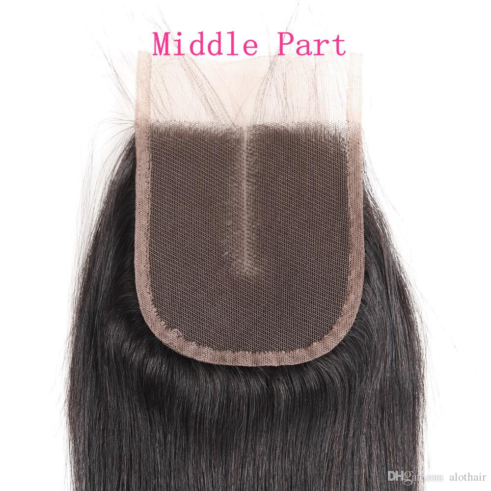Brazilian Virgin Human Hair Bundles with Lace Closure Straight Hair 3 Bundles with 4*4 Lace Closure Unprocessed Free Middle 3Part