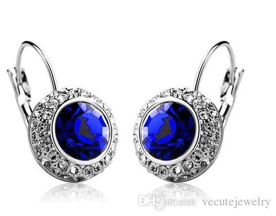Prezzo all'ingrosso 18K placcato oro bianco placcato cristallo austriaco donne orecchini orecchini strass pendenti orecchini prezzo di fabbrica i