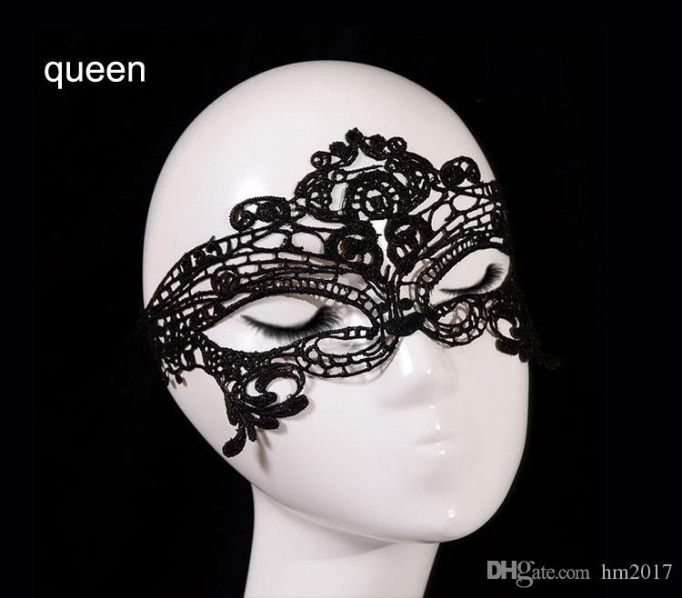 Маскарад Хэллоуин изысканный сексуальный кружева маска маскарад маска принцесса взрослый черный half-face hollow кружева сна маски