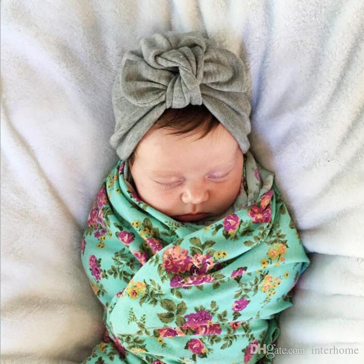 INS Bebê Coelho Orelha Caps Nó Cabeça Wraps Bowknot Chapéus Infantil Bohemia Turbante Criança Inverno Gorro Recém-nascidos Moda India Chapéus 9 Cores G91