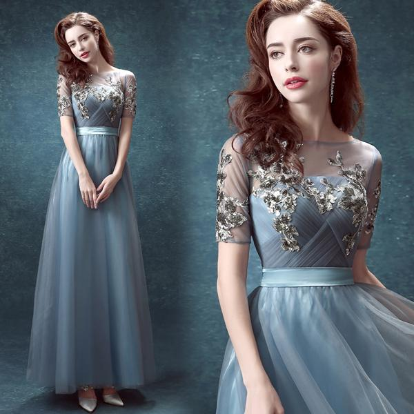 Lake Blue Bride Toast Long Sleeve Bridesmaid Dress In The Annual ...