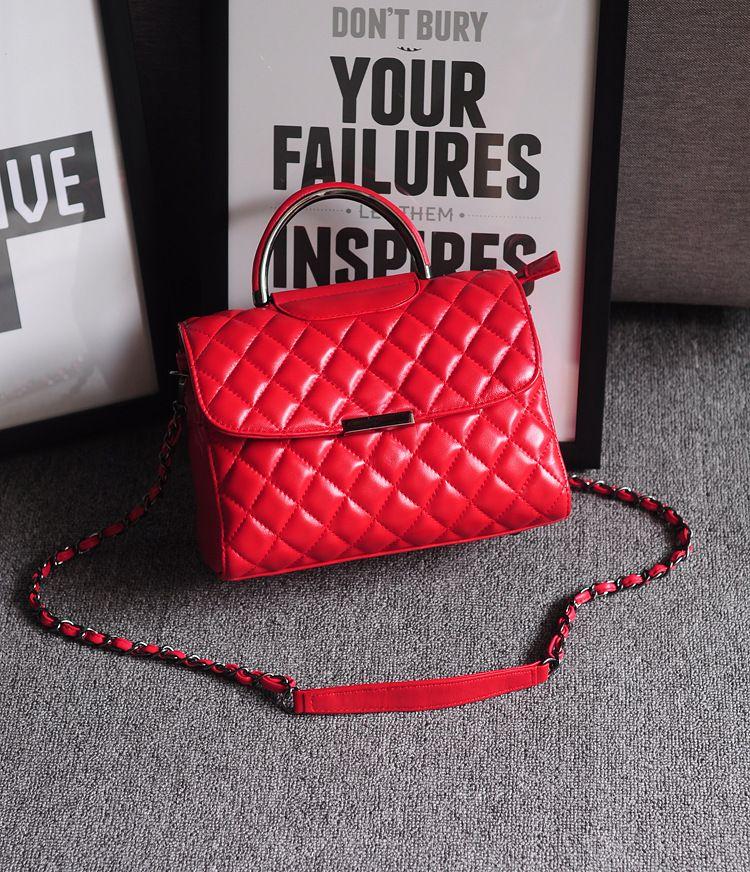 Brand Style Genuine Leather Women Handbags 2017 Sheepskin Ladies Messager Shoulder Bags New Stylish Pattern Chain Cross Body Bags