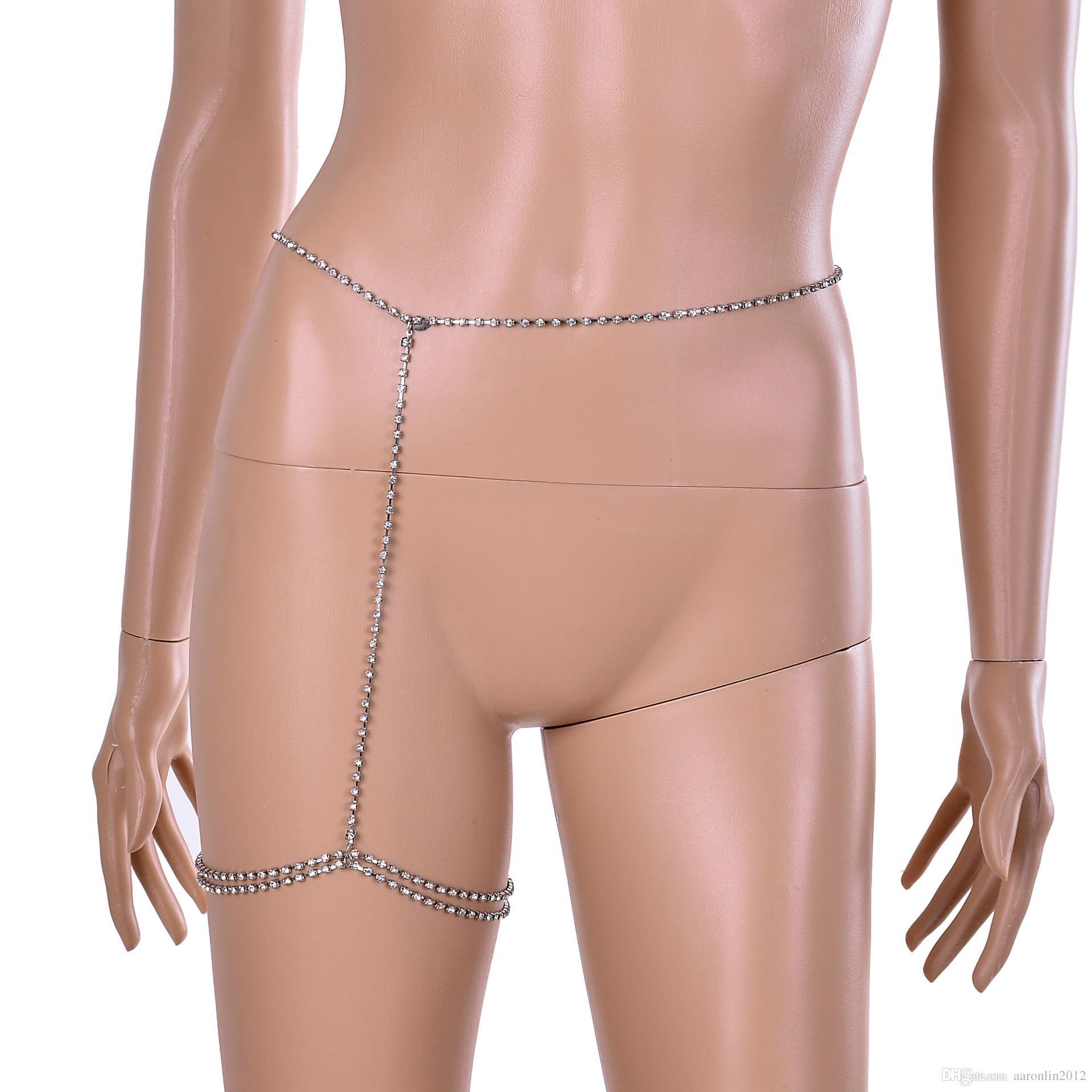 أزياء العلامة التجارية كريستال الساق سلسلة هيئة المجوهرات مثير النساء حجر الراين خلخال سلاسل البطن هندسية نادي ليلة روك الجسم سلسلة 2017