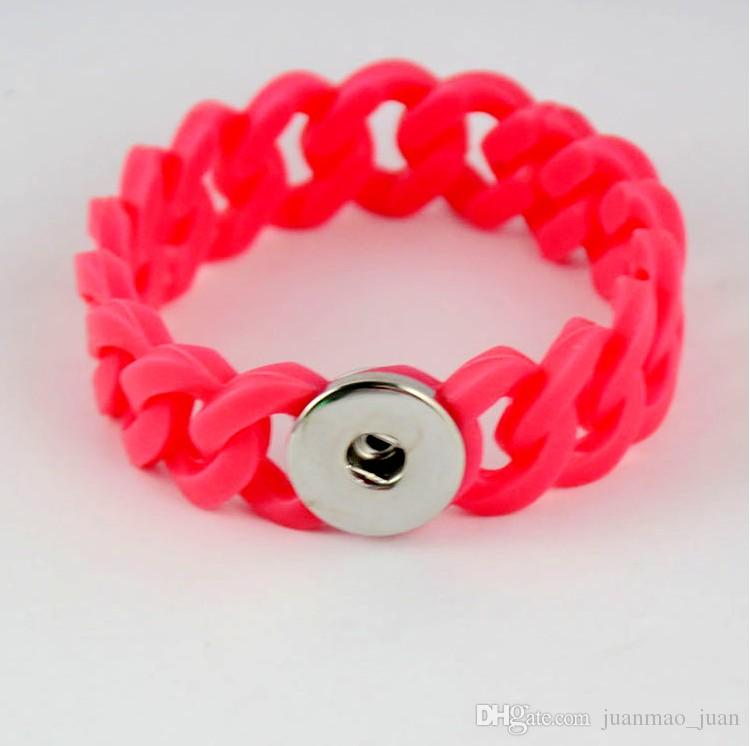 New Design Mix Style Ginger Snap Silicone Bracelet Fashion Snap Jewelry For Women Fit Noosa 18mm Snap Button