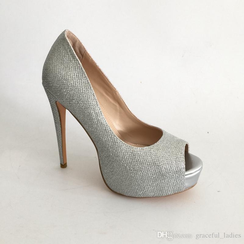 Silver Glitter Wedding Shoes Peep Toe Platform Bridal