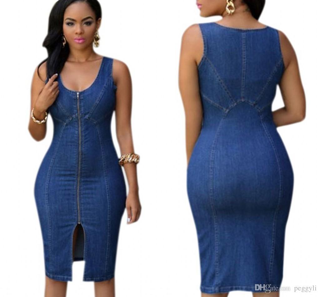 2019 Vintage Plus Size Denim Dresses Women Robe Jeans Fashion ...
