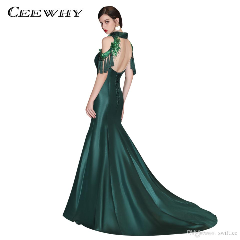 5d948476bd36b CEEWHY Vestido de Noche High Neck Moroccan Kaftan Mermaid Evening Dresses  Formal Dress Green Prom Dresses Vestido Longo de Festa