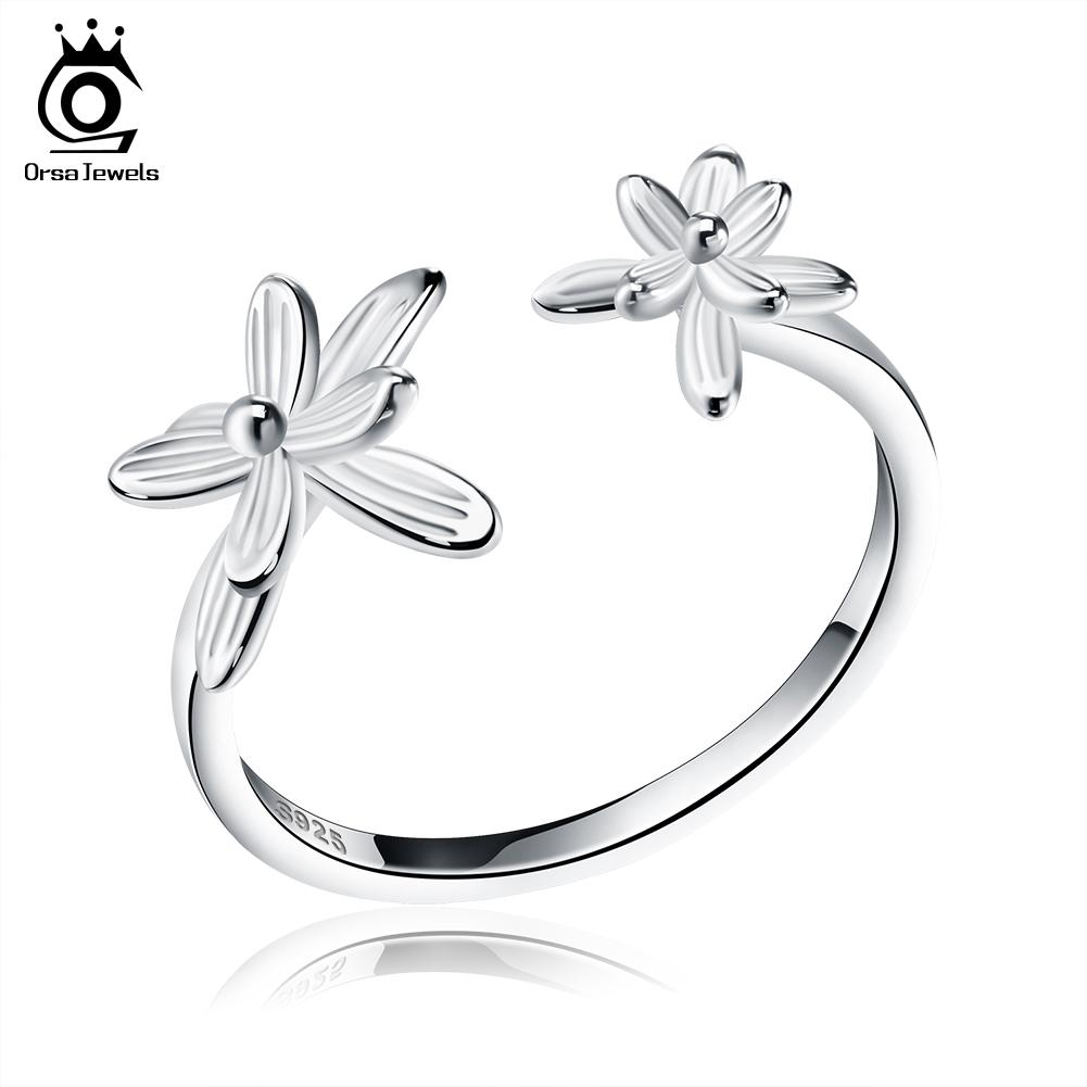 ORSA JEWELS Fashion Authentic Silver Flower Party Ring Open End For Women S925 Certification Fashion Jewelry SR11