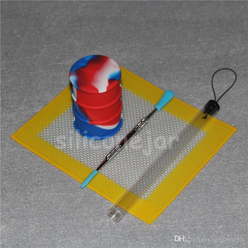 Pad en silicone coloré Pad Slick Pad No Stick Shatter Proof Tool Set en acier inoxydable Dabber Dab Pad Pad
