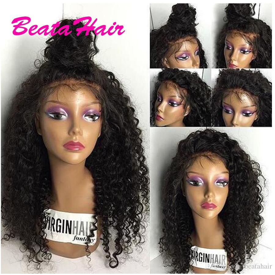 8A Brasilianische Volle Spitze Perücke Glueless Spitzefront Menschliches Haar Perücke Afro Verworrene Lockige Perücke Für Schwarze Frauen
