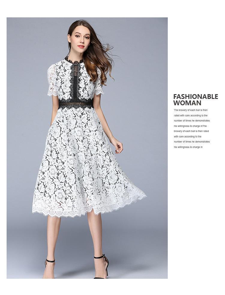2017 Yaz ajur Dantel Elbise Diz boyu Vestidos Kısa kollu Kadın elbise Moda Çiçek Rahat elbise XZ-047