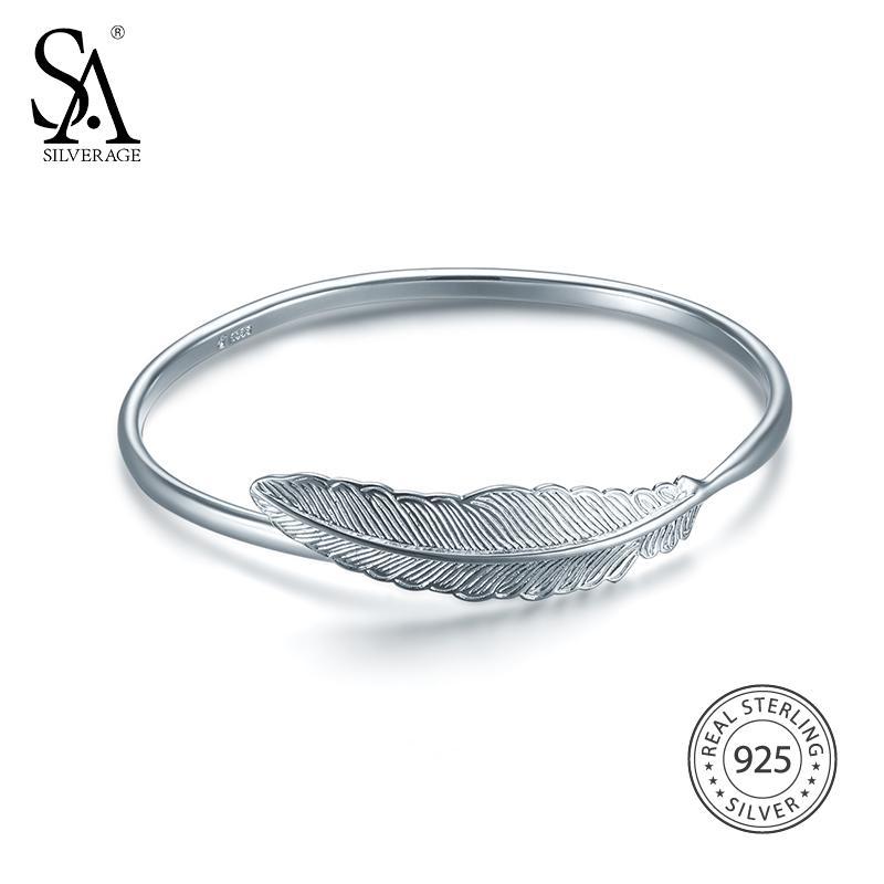 29952481c01 SA SILVERAGE Bangle 2017 Women Bohemia Feather Bracelets&Bangles Wedding Real  925 Sterling Silver Bangles For Women Fine Jewelry Silver Charm Bracelet Uk  ...