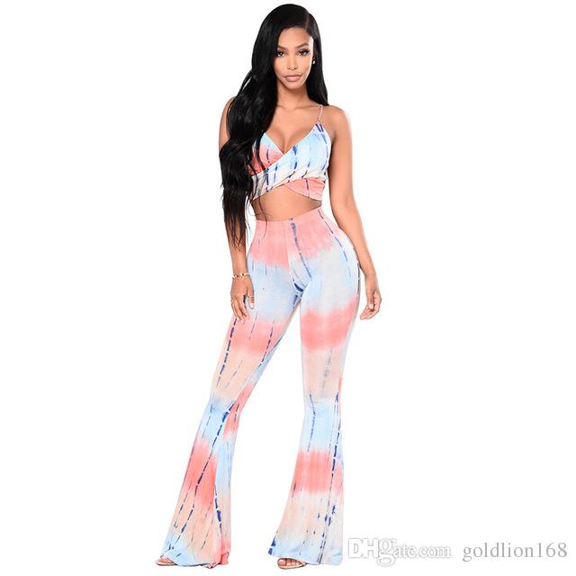 5f806180ee4 2019 Fashion Tie Dye Print Crop Tops And Pants Women Set Summer Style Sexy  Spaghetti Strap Tops + Flare Pants Casual Set From Goldlion168